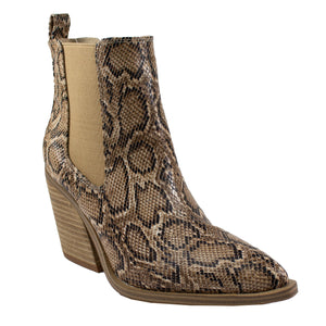 brown snake print ankle boots