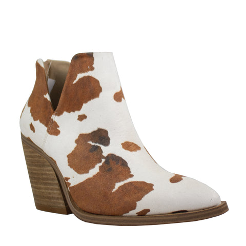 dean brown white cow print pu leather ankle boot