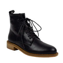 Load image into Gallery viewer, black pu leather laced slim combat boots