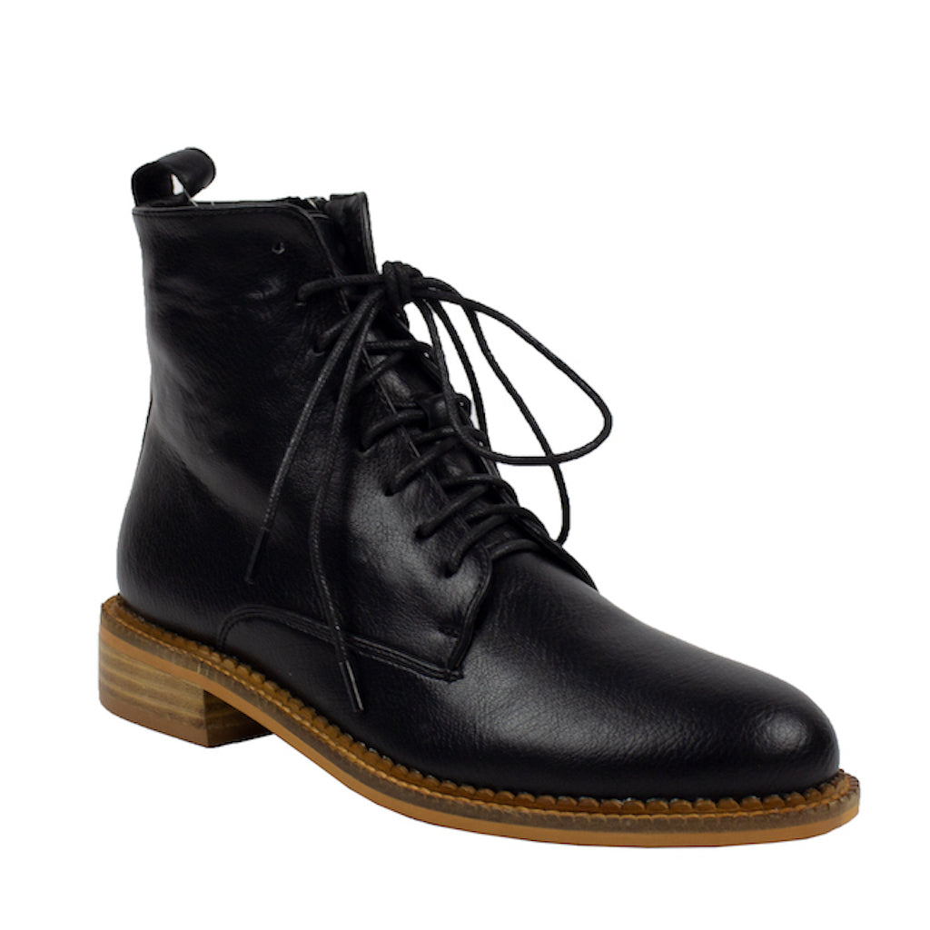 black pu leather laced slim combat boots