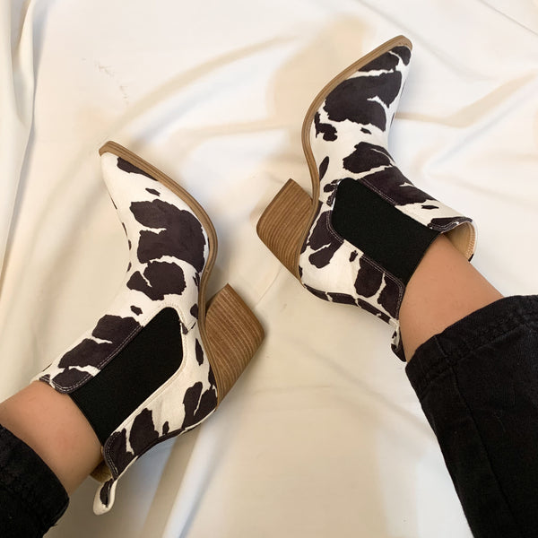 black cow print ankle boot shoes heels