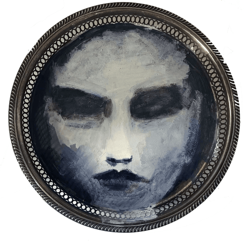 Believe Me is an original oil on silver tray by Carylann Loeppky