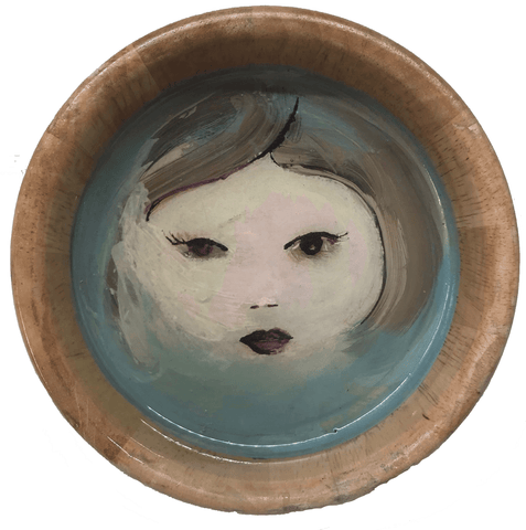 Blue Note Bloom is an original oil on wooden bowl by Carylann Loeppky