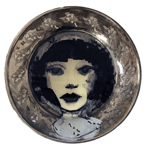 Yesteryear's Girl is an original oil on silver tray by Carylann Loeppky