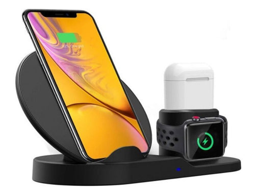 3 in 1 Wireless Fast Charger: iPhone + AirPods + Apple Watch - Black