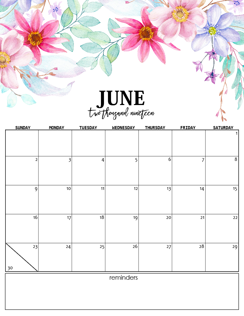 Printable 2019 Calendar in Enchanting Florals! – Shining ...