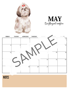 Dog-Themed 2019 Calendar- Monday Start!