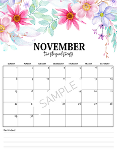2020 Monthly Floral Calendars