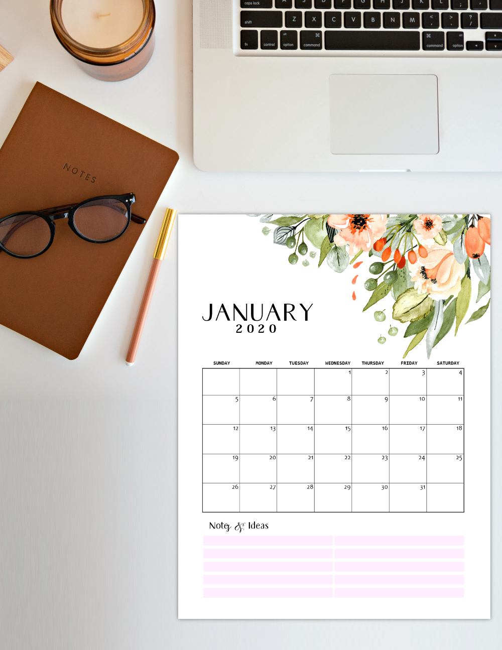 2020 Printable Calendar in Rustic Theme
