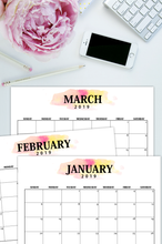 Load image into Gallery viewer, Printable 2019 Calendar in Classic Minimalist Style