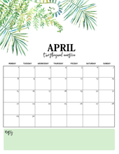 Load image into Gallery viewer, Nature-Inspired 2019 Monthly Calendars (Monday Start)