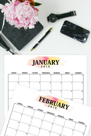 Printable 2019 Calendar in Classic Minimalist Style