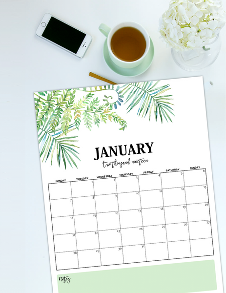 Nature-Inspired 2019 Monthly Calendars (Monday Start)