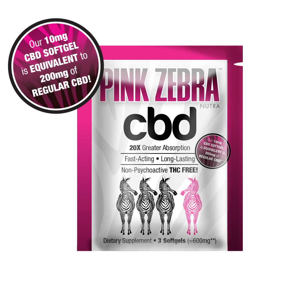 Sample Pack (1 Packet) 3 x 10mg CBD Softgels - 20X more bioavailable! FREE SHIPPING - Pink Zebra Nutra