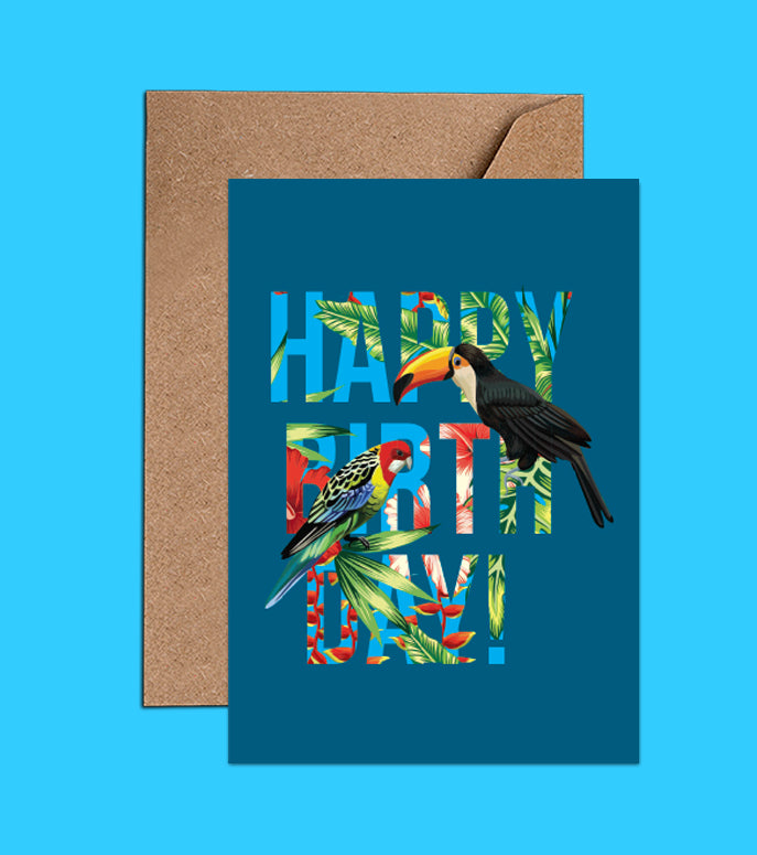 Tropical blue Happy Birthday Card – Toucan & Parrot