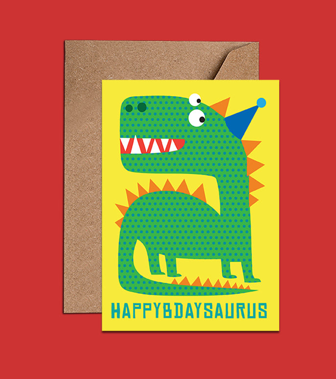 Dinosaur Birthday Card-Happybdaysaurus
