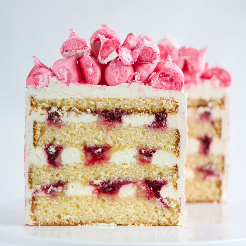 Lemon Raspberries and Cream Cake slice