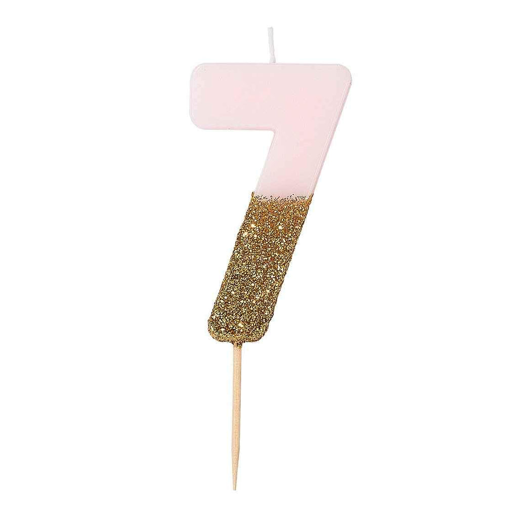 Pink Glitter Number Candles