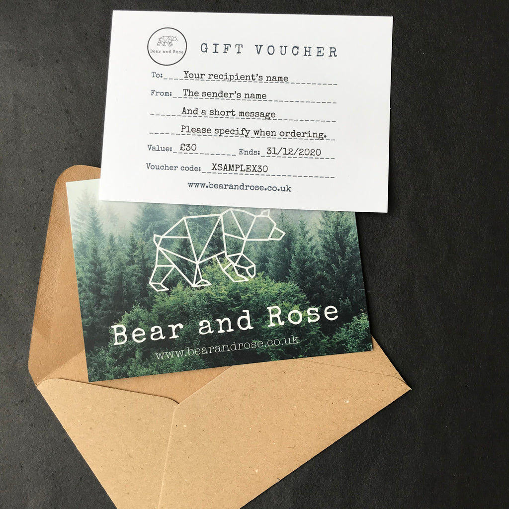 Bear and Rose gift voucher