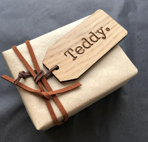 Bear and Rose wrapped gift with engraved gift tag