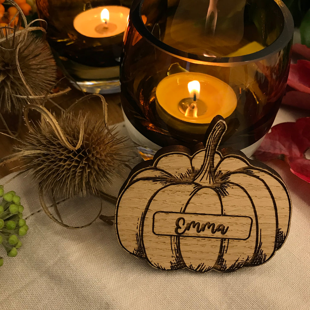 Personalised Pumpkin Place Name/Table Decoration - Oak