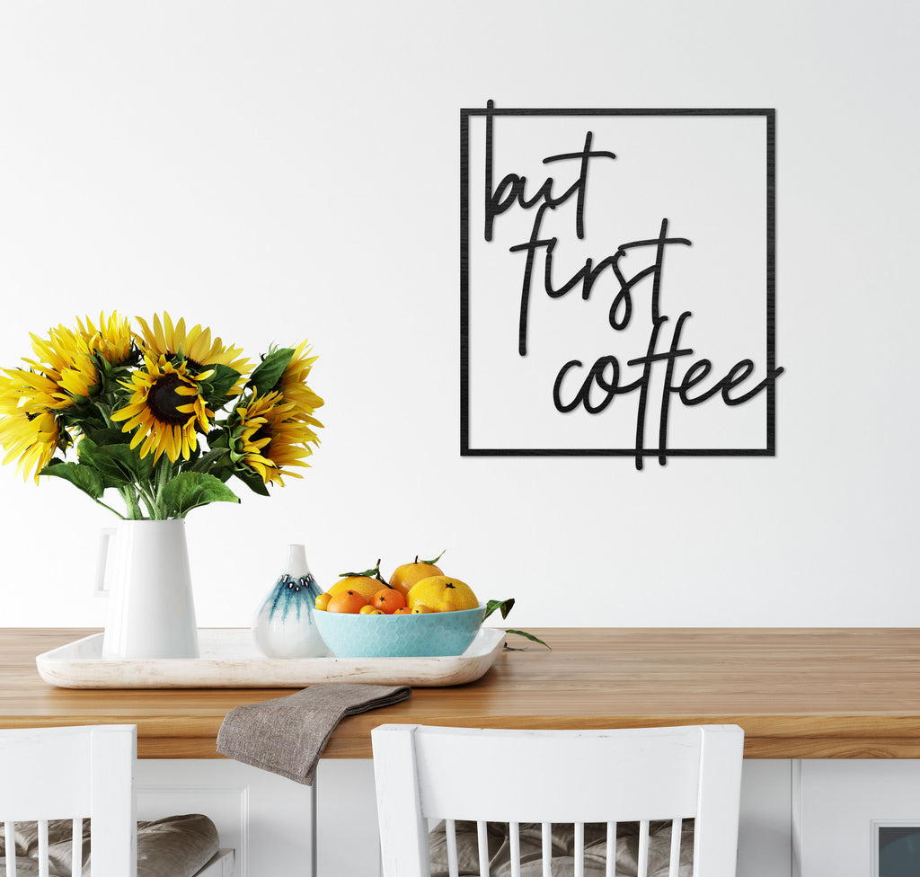 """but first coffee"" wooden wall art"