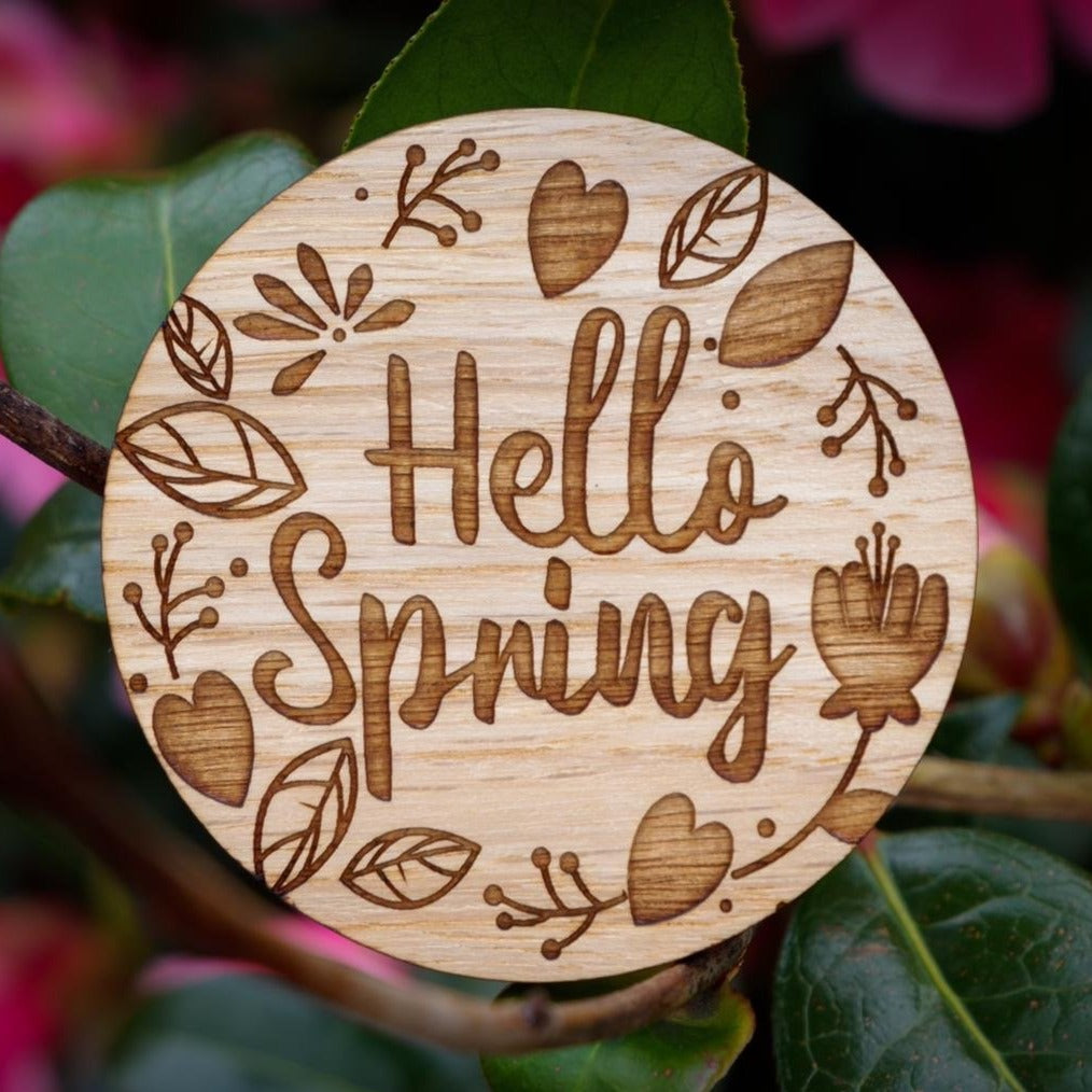 """Hello Spring"" wooden disc"