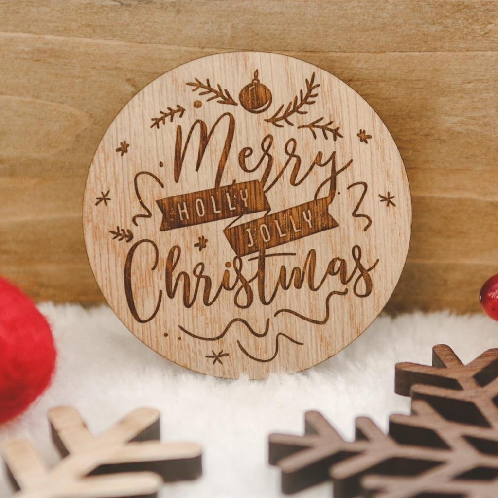 """Merry Christmas"" wooden disc"