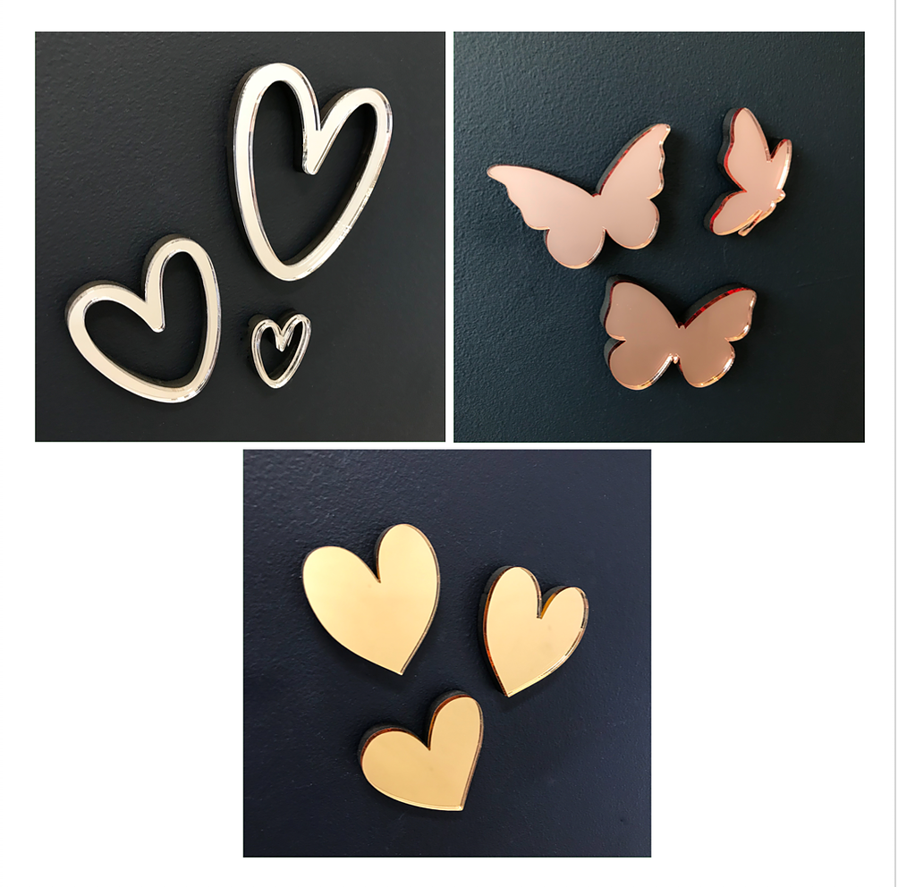 Mirrored Acrylic Wall Decorations - Hearts or Butterflies