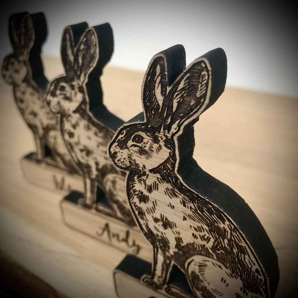 Personalised Hare Place Name/Table Decoration - Oak