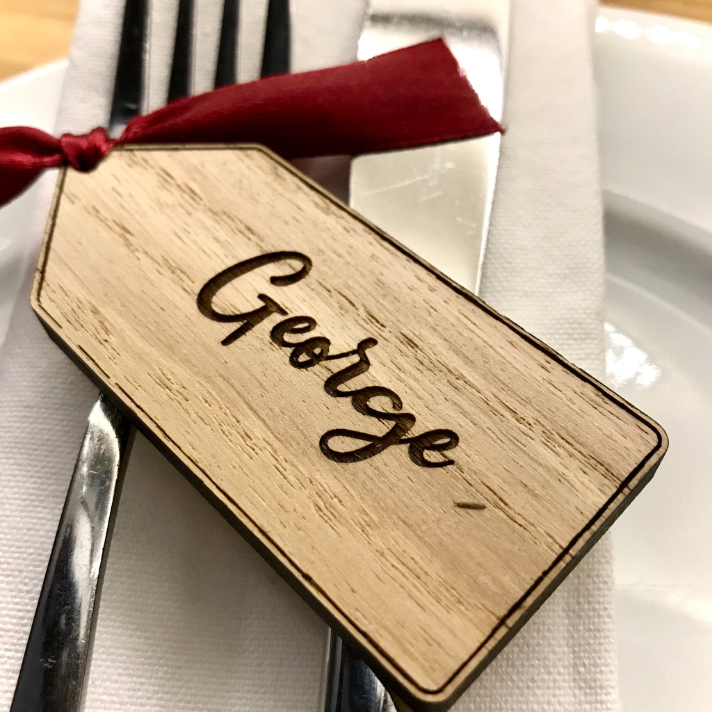Personalised Luggage Tag Place Name/Table Decoration - Oak