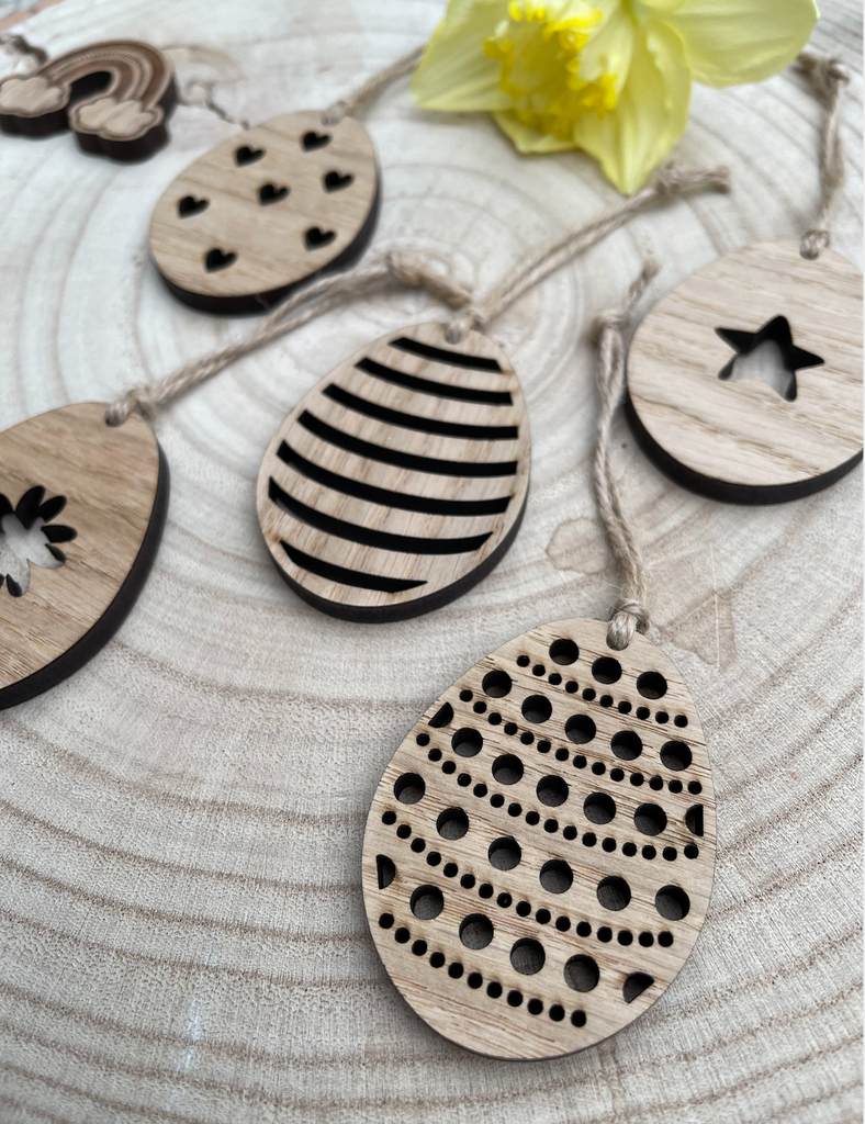 Easter Eggs - Wood Hanging Decorations