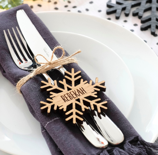 Personalised Christmas Snowflake Place Name/Table Decoration - Oak