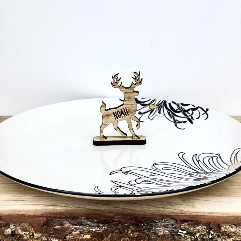Personalised Stag Reindeer Place Name/Table Decoration - Oak