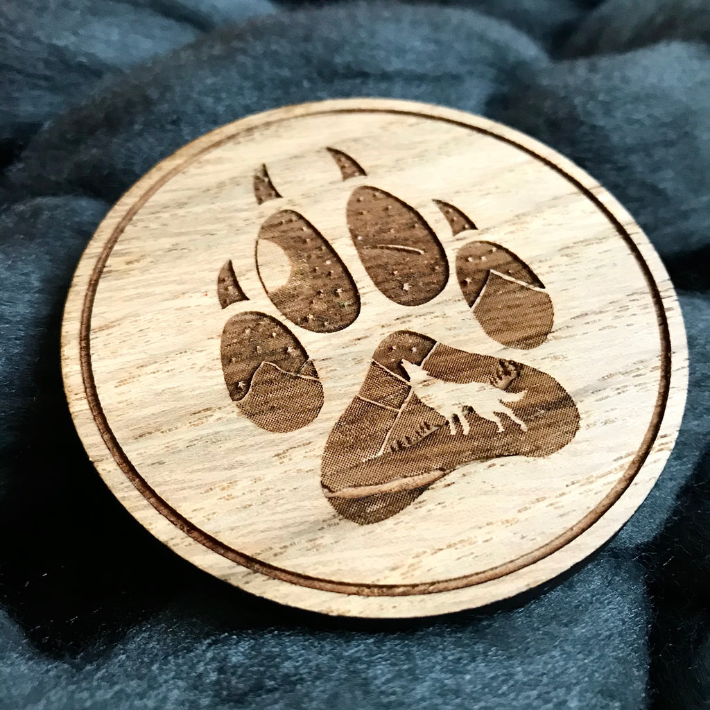 "SAMPLE - ""Howling Wolf Paw Print"" Wooden Disc"