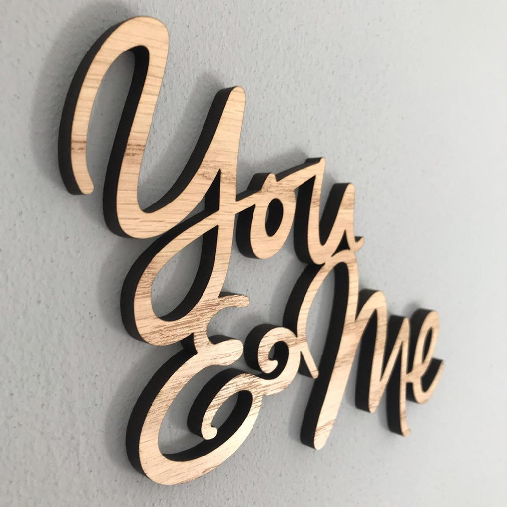 "Wooden ""You & Me"" Wall Plaque"