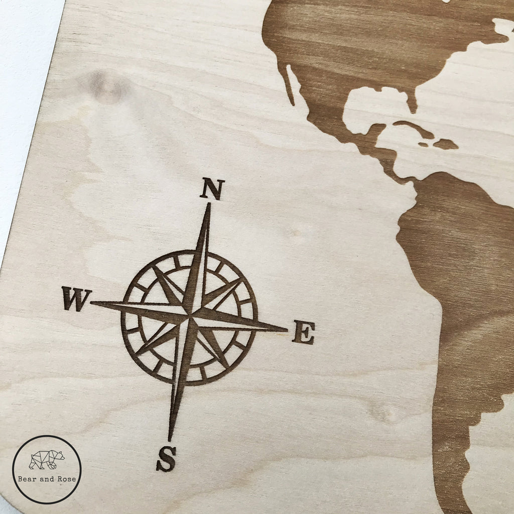Wooden Engraved World Map Plaque