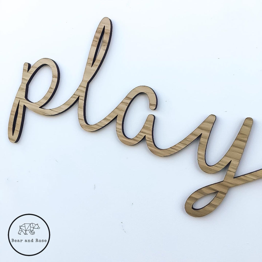 "Wooden ""play"" Wall Plaque - Cursive"