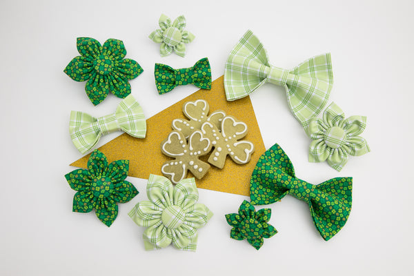 St. Patricks Day Collection - Dog Bow Ties and Collar Flowers by Cheerful Hound