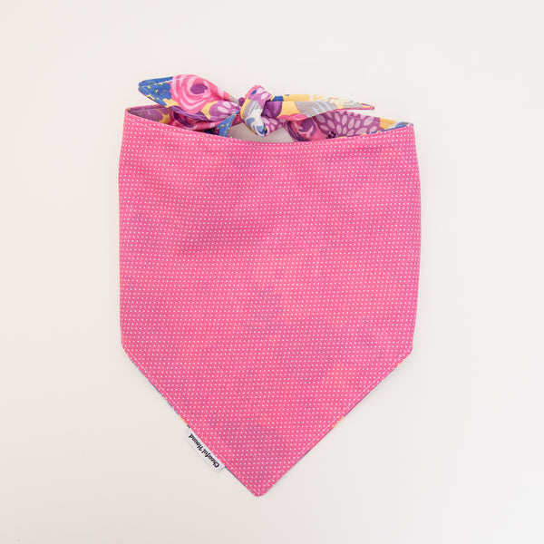 Pink Floral and Pin Dot Dog Bandana