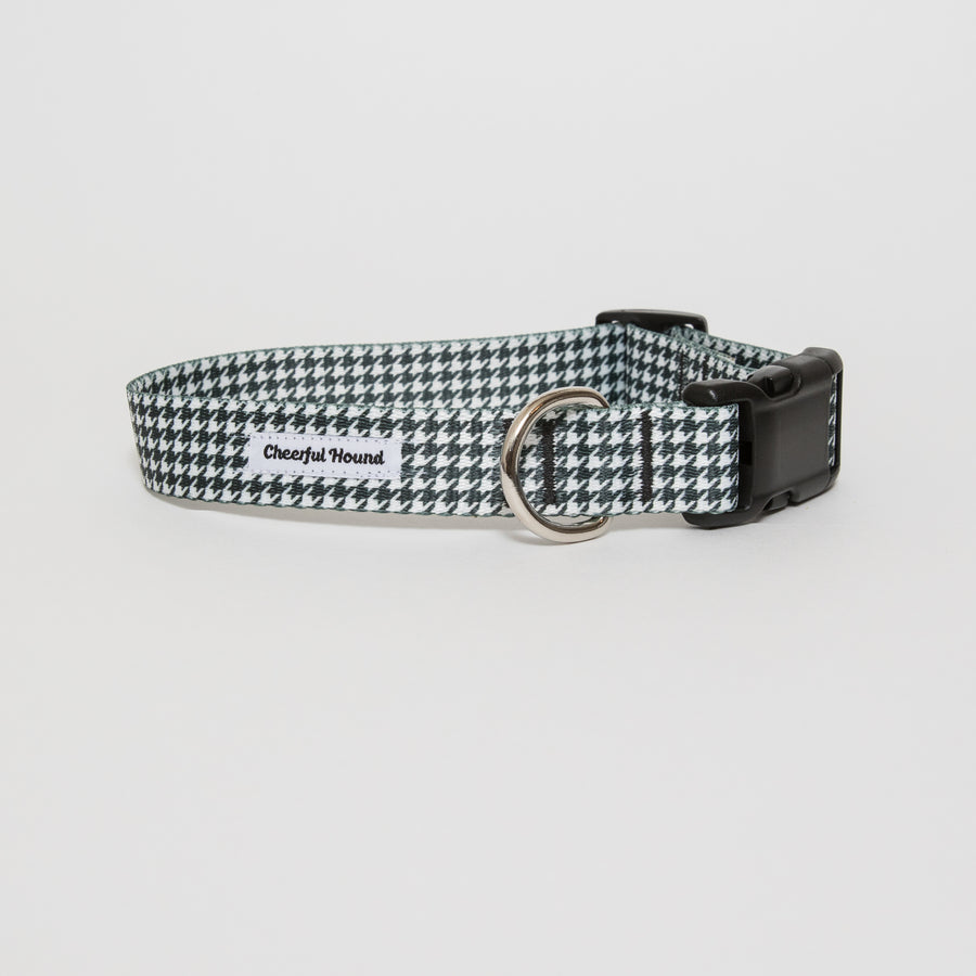 Black & White Houndstooth Dog Collar