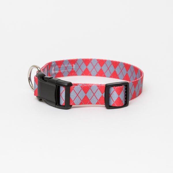 Red & Grey Argyle Dog Collar