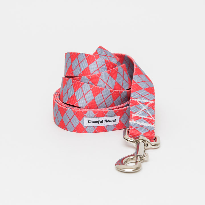 Red & Grey Argyle Dog Leash