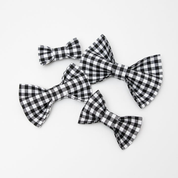 Black & White Gingham Dog Bow Tie