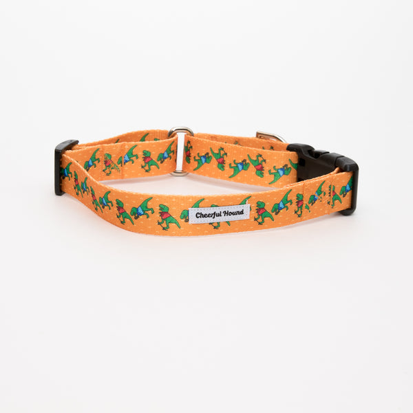 Sporty T-Rex Martingale Dog Collar