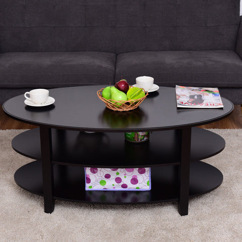 3 Tier Wood Oval Coffee Table With Storage Shelves Black