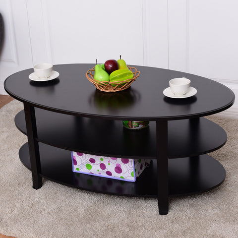 Oval Coffee Table With Shelf.3 Tier Wood Oval Coffee Table With Storage Shelves Black