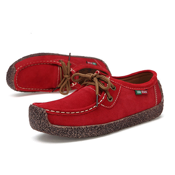 640e6cfa2 US Size 5-11 Women Suede Casual Outdoor Lace Up Comfy Flat Shoes ...