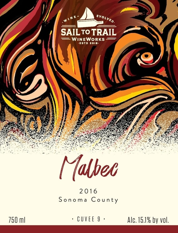 Our 2016 Sonoma Malbec bottle label.