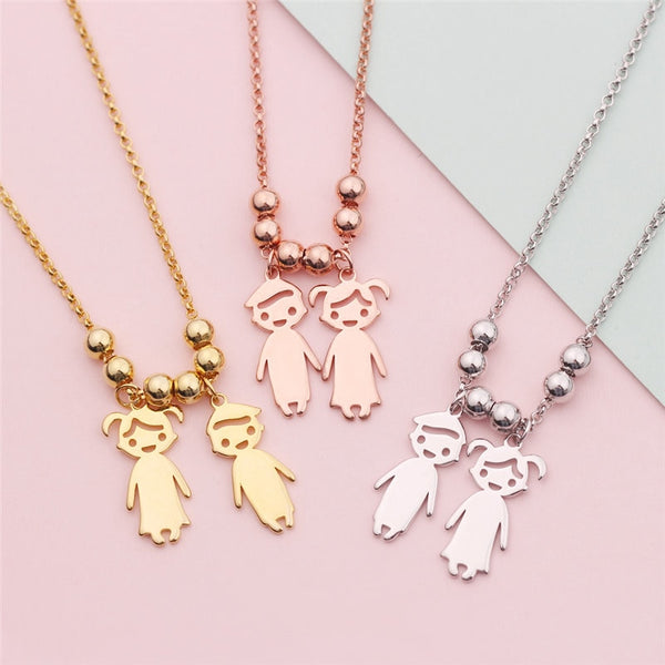 160cf9e6f Engraved Children Charms Pendant Necklace - Wise Sells